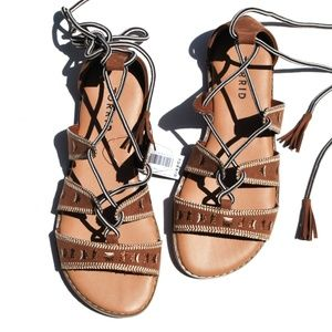 Torrid Cognac Embroidered Lace Up Sandals Size 6